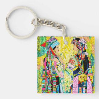 Sisters Hao Ping oriental abstract ladies girls Keychain