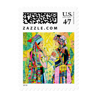 Sisters Hao Ping oriental abstract ladies girls Postage