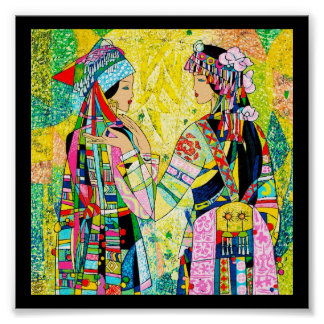 Sisters Hao Ping oriental abstract ladies girls Poster