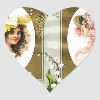 SISTERS IN SPRING HEART STICKER