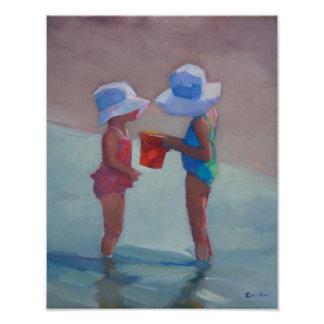 """Sisters in Sun Hats"" - 14""x11"" POSTER"