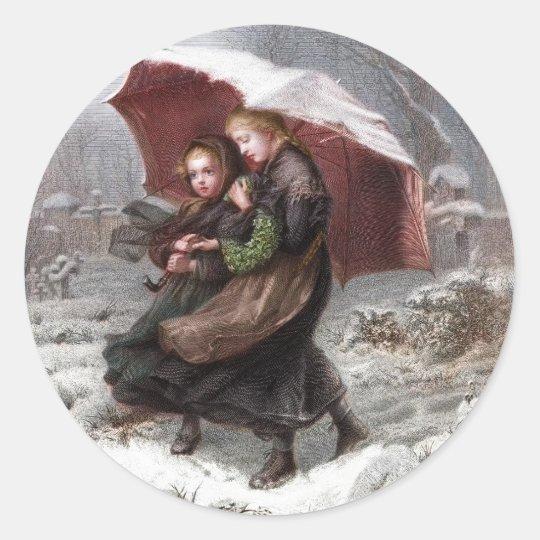 Sister's in Winter Classic Round Sticker