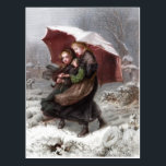 """Sister's in Winter Postcard<br><div class=""""desc"""">Vintage colour engraving from 1868 after the painting by Emily Mary Osborn of two sisters walking through a snow covered churchyard.</div>"""