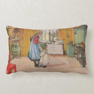 Sisters - Koket av Carl Larsson Lumbar Pillow