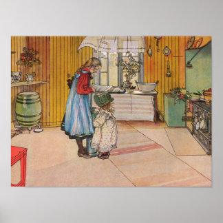 Sisters - Koket av Carl Larsson Poster