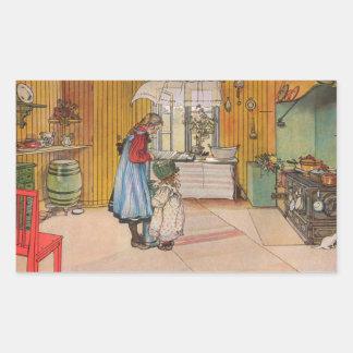 Sisters - Koket av Carl Larsson Rectangular Sticker