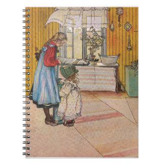Sisters - Koket av Carl Larsson Spiral Notebook