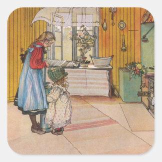 Sisters - Koket av Carl Larsson Square Sticker