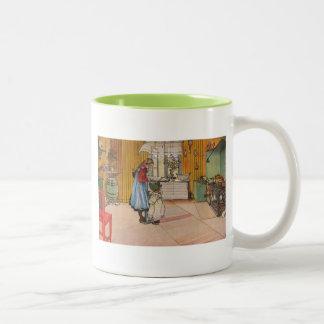 Sisters - Koket av Carl Larsson Two-Tone Coffee Mug