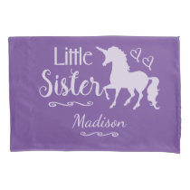 Sisters Little Sister Unicorn Pretty Purple Kids Pillowcase