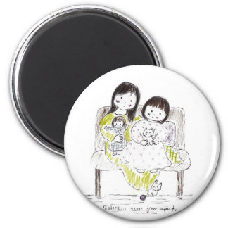 Sisters never grow apart 2 inch round magnet