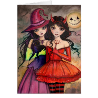 Sisters of Halloween Gothic Fantasy Art Card