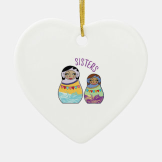 Sisters Double-Sided Heart Ceramic Christmas Ornament
