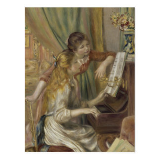 Sisters Playing the Piano Postcard