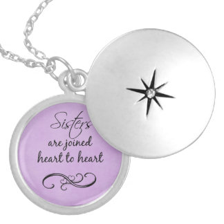 Sisters Quote Heart to Heart Locket Necklace