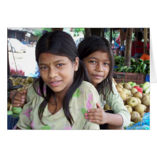 SISTERS, RURAL NEPAL VEGETABLE STAND CARD