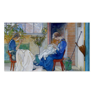 Sisters Sewing by the Fireplace Double-Sided Standard Business Cards (Pack Of 100)