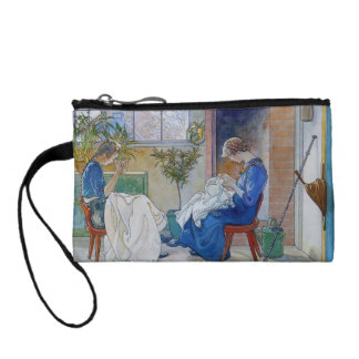 Sisters Sewing by the Fireplace Change Purse
