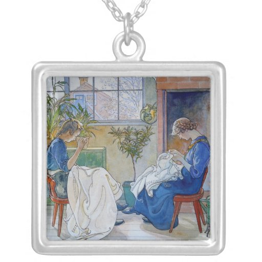 Sisters Sewing by the Fireplace Square Pendant Necklace