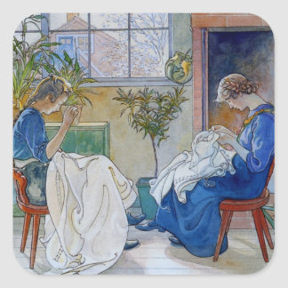 Sisters Sewing by the Fireplace Square Sticker