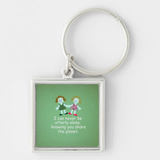 Sisters Silver-Colored Square Keychain