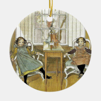 Sisters Sitting in Chairs Double-Sided Ceramic Round Christmas Ornament