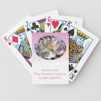 Sisters that Play Canasta Together Apple Blossom Bicycle Playing Cards