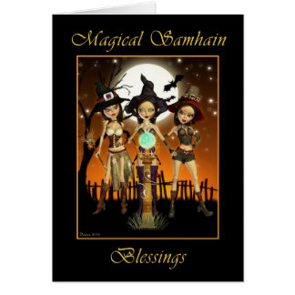 Sisters Three Witch Magical Samhain Blessings Card