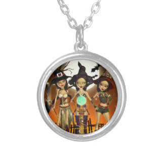 Sisters Three Witch Round Pendant Necklace