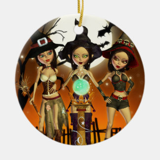 Sisters Three Witch Samhain Round Ornament