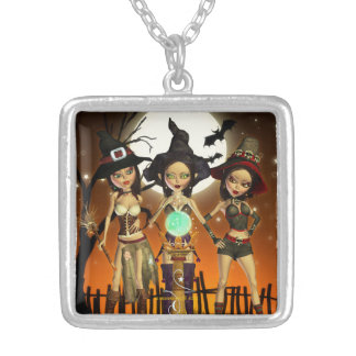 Sisters Three Witch Square Pendant Necklace