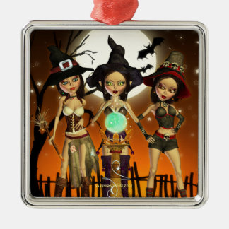 Sisters Three Witch Square Silver Ornament