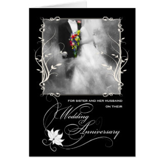 Sister's Wedding Anniversary Black and White Card