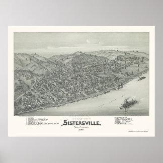 Sistersville, mapa panorámico de WV - 1896 Póster