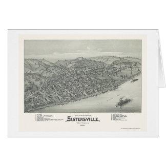 Sistersville, WV Panoramic Map - 1896 Greeting Cards