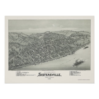 Sistersville, WV Panoramic Map - 1896 Poster