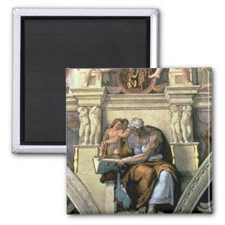 Sistine Chapel Ceiling: Cumaean Sibyl, 1510 2 Inch Square Magnet