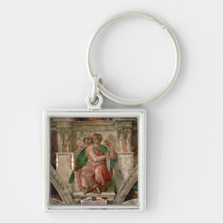 Sistine Chapel Ceiling: The Prophet Isaiah Silver-Colored Square Keychain