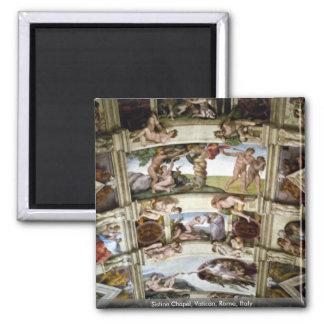 Sistine Chapel, Vatican, Rome, Italy 2 Inch Square Magnet