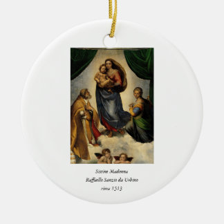 Sistine clásico Madonna de Raphael circa 1513 Ornamento De Navidad