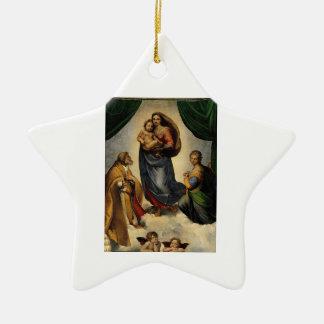 Sistine clásico Madonna de Raphael circa 1513 Ornamento Para Reyes Magos