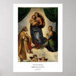 """""""Sistine clásico Madonna"""" de Raphael (circa 1513) Posters"""