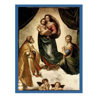 """""""Sistine clásico Madonna"""" de Raphael (circa 1513) Postales"""