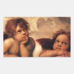 Sistine Madonna 2 ángeles por Raphael Rectangular Pegatina