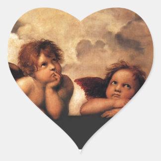 Sistine Madonna 2 Angels by Raphael Heart Sticker