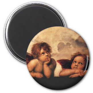 Sistine Madonna 2 Angels by Raphael Refrigerator Magnets