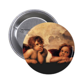 Sistine Madonna 2 Angels by Raphael Pinback Button