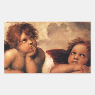Sistine Madonna 2 Angels by Raphael Rectangular Sticker