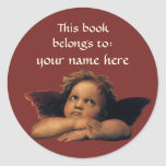 Sistine Madonna Angels by Raphael Bookplate Round Sticker