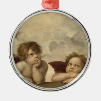 Sistine Madonna Angels by Raphael Round Metal Christmas Ornament